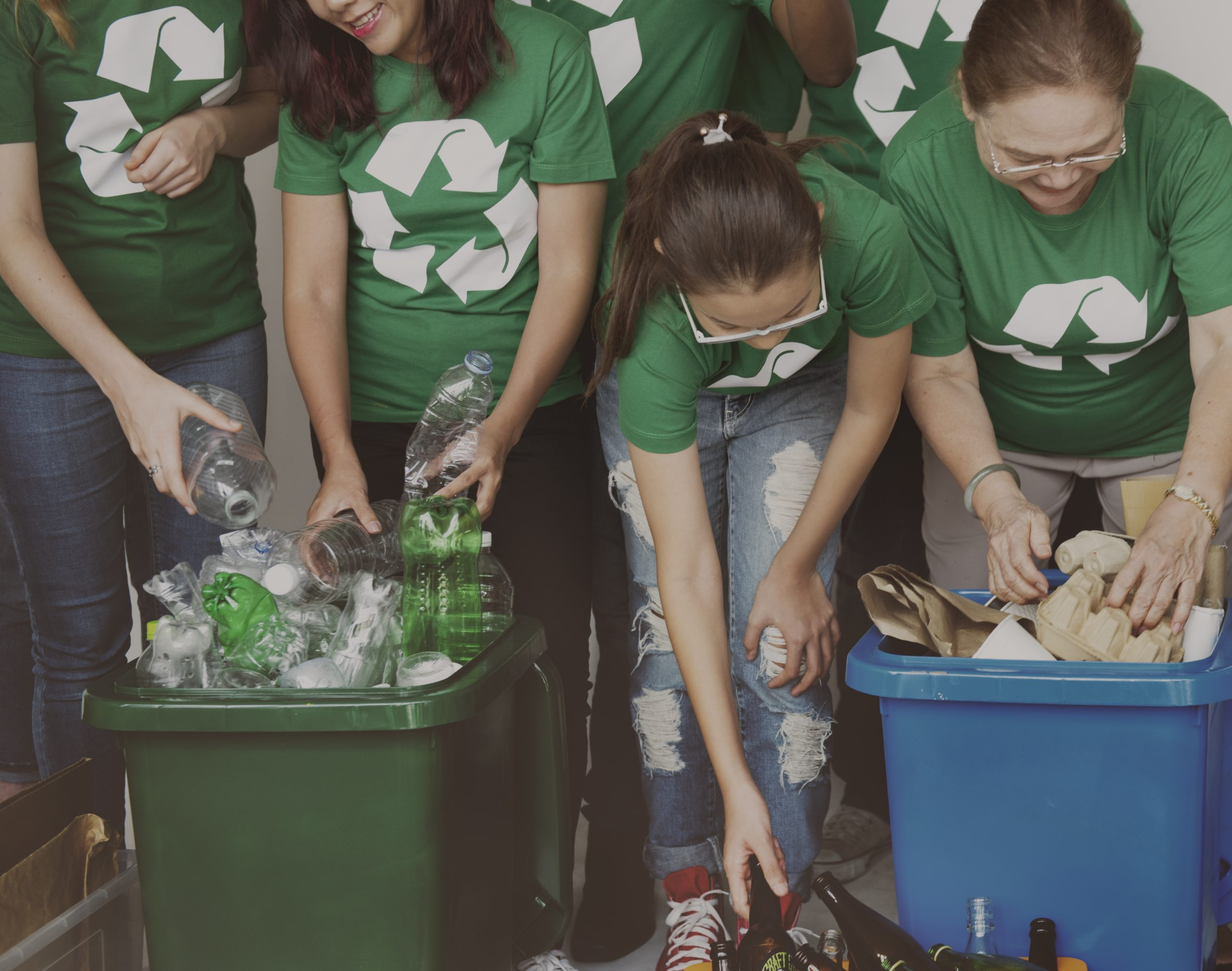 Group of people team with recycle project
